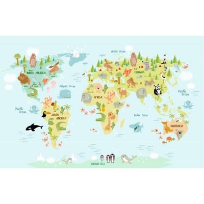 Bebek Çocuk Odası Hayvanlı Dünya Haritası Duvar Kağıdı